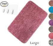 Yimobra Bath Mats Luxurious Absorbent,Large,Soft,Non slip,Microfiber L 31.5 X W 50cm Fuschia with Pink free Wall Hooks 3 Pack
