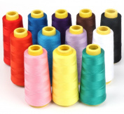 ilauke 12 X 1500M Overlock Sewing Thread Assorted Colours Yard Spools Cone 100% Polyester for Serger Quilting Upholstery Beading Drapery