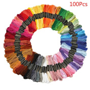SANNYSIS Embroidery Floss Cross Stitch Threads with Premium Rainbow Colour for Sewing Art Craft DIY