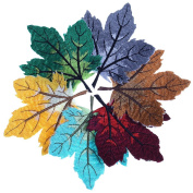 JUNKE 8 PCS Colourful Maple Leaf Embroidery Patches Applique Embroidered Iron on Patches for Jeans, Jackets, Clothes, Backpacks, Etc