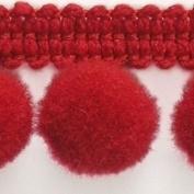 HomeBuy 1M Pom Pom Bobble Trim Fringe - Medium Size 10Mm 20 Colours (Per Metre) Hot Redb
