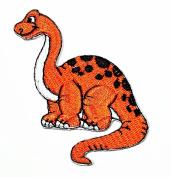 Cute Orange Dinosaur Animal cartoon kids Cartoon Movie patch Kid Baby Boy Jacket T Shirt Patch Sew Iron on Embroidered Symbol Badge Cloth Sign Costume