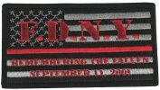FDNY REMEMBERING THE FALLEN SEPTEMBER 11, 2001 FLAG RED LINE FIRE FIGHTER PATCH - Colour - Veteran Owned Business.