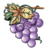 FRUIT/GRAPES PURPLE W/LEAVES EMBROIDERED IRON ON APPLIQUE DIY Article of Clothing