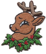 CHRISTMAS-REINDEER w/ GREEN WREATH-Iron On Embroidered Applique/ Animals/Holiday DIY Article of Clothing