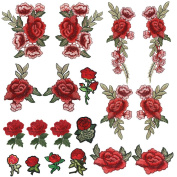 OPount 19 Pieces Embroidered Patches Sew On Patch Applique and Iron On Rose Patch Embroidered Flower for DIY Clothing, Jeans