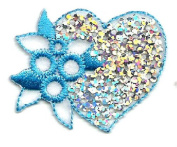 HEART SEQUIN/ EMBROIDERED BLUE IRON ON APPLIQUE DIY Article of Clothing