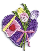 HEART PURPLE W/TULIPS ~ IRON ON APPLIQUE DIY Article of Clothing