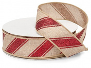 Holiday Burlap Ribbon - 25 Yards - Peppermint Stripe