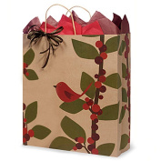 Red Bird Berries Paper Shopping Bags - Queen Size - 41cm . X 15cm . X 48cm . - 250 Pieces