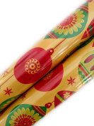 Christmas Gift Wrapping Paper (2 Rolls) Holiday Ornaments Red Green Gold