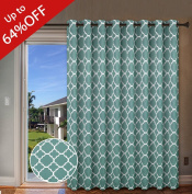 H.Versailtex Thermal Insulated Room Divider / Quatrefoil Pattern Blackout Patio Curtains,Antique Grommet Sliding Door Curtain for Large Window, W100 x L84 inch-Teal