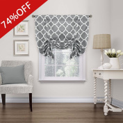 Thermal Insulated Grey Blackout Curtain - Tie Up Shade for Small Window ( Rod Pocket Panel, 110cm W x 160cm L, Moroccan Printed in Grey) - By H.Versailtex