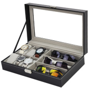 F & U PU Leather Glass Top 6 Slot Watch Box Organiser with Glasses Tray Drawer Gift for Men