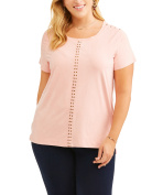 French Laundry Women's Plus Short Sleeve Laser Cut Faux Suede Tee