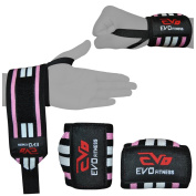 EVO Ladies Pink Elasticated Gym Straps Weightlifting wrist Support Wraps Gloves