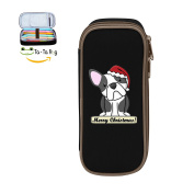 Mybox Cartoon French Bulldog Christmas Cube Pen Case Pencil Box Soft Canvas Student Stationery Office Storage