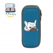 Mybox Frenchie Dog Cube Pen Case Pencil Box Soft Canvas Student Stationery Office Storage