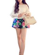Unique Bargains Juniors Floral Prints Stretchy Waist Slant Pockets Chiffon Shorts