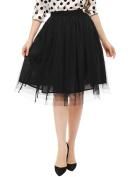 Unique Bargains Juniors Allover Pleats Elastic Waist A-Line Tulle Skirt Black