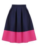 Unique Bargains Juniors High Waist Colour Block Pleated Above Knee A Line Skirt Blue