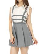 Unique Bargains Juniors Cut Out Elastic Waist A Line Mini Suspender Skirt Grey