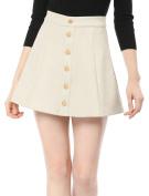 Unique Bargains Juniors Mid Rise Button Closure Front Mini A-Line Skirt Beige