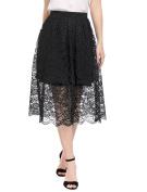 Unique Bargains Juniors Scalloped Hem Pleated A Line Midi Lace Skirt Black