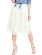 Unique Bargains Juniors Elastic Waistband Polka Dots A Line Midi Mesh Skirt White