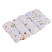 Looching Pack of 5 Colour Assorted 100% Cotton Baby Muslin Washcloths,Newborn Baby Face Towel - Ideal Wipes For Baby's Sensitive Skin And Baby Bath