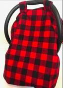 AllTot Black and Red Buffalo Plaid Car Seat Cover for Babies
