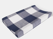 Changing pad cover in Navy Buffalo Plaid by AllTot Large Navy Buffalo Plaid Cheque Handmade in The USA