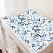Carousel Designs Navy and Denim Tribal Ikat Changing Pad Cover - Organic 100% Cotton Change Pad Cover - Made in the USA