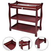 K & A Company Sleigh Style Baby Changing Table Infant Newborn Nursery Nappy Station Pad Furniture in Cherry