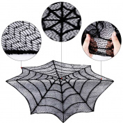 BranXin(TM) Halloween Table Cloth Sp id er Web Black Lace Round 80cm Tablecloth For Halloween Decoration Party Supplies Home Textile