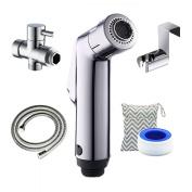 BESEGO Cloth Nappy Toilet Sprayer + Wet Bag Set, Two Mode Bidet Sprayer Kit, Toilet Shattaf Sprayer with (2.2cm ) T-Valve, Toilet Attachment Metal Holder & 1.4m Hose