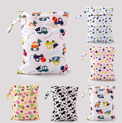 Miss.AJ 2pcs Baby Wet and Dry Cloth Nappy Bags, Nappy Organiser Bag with 2 Zippered Pockets