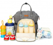 Grey Nappy Bag Backpack, Waterproof Multi-function Baby Girls Nappy Bag Backpack with Stroller Straps