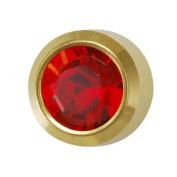 NEW 24ct. Gold Plate Personal Piercer Ruby July Bezel 3mm Ear Piercing Earrings Studex System 75