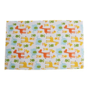 Dovewill Cotton Baby Foldable Waterproof Reusable Urine Pad Cover Nappy Changing Mat for Home Travel - 1x Orange Zoo, as described