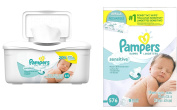 Pampers Baby Wipes Tub, Sensitive - 64 Wipes/Tub