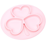 Non Slip Silicone Kids Placemats with Plate for Toddlers Babies Children Pink