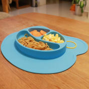 Mockins Mess Free Silicone Suction Baby Placemat With Bowl And Plate Is Safe For Children And All Kids And Toddlers Will Fit Most Highchair Feeding Tray In Your Kitchen Or Dining Table - Blue Bear