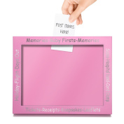 CKB Ltd Pink Display Frame For Baby First Memories - Memory Box Frame and Keepsake Picture Display - Perfect Pregnancy or New Born Gift
