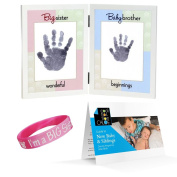 The Grandparent Gift Co. Sweet Somethings Handprint Frame, Big Sister/Baby Brother, New Baby Guide, and Im a Big Sister wrist band