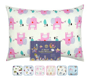 FUMAN Toddler Pillowcase for Boys or Girl 100% Cotton,For 13x18,12x16 Pillow,Double-Sided different printing-Cars,Elephants,Aeroplanes