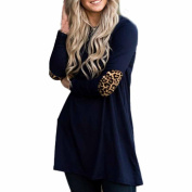 Franterd Womens Leopard Long Sleeve Tops BlouseCasual Pullover