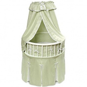 NEW Green Elegance Round Baby Bassinet with Sage Waffle Bedding