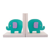 eCraftIndia Colourful Baby Elephant Design Wooden Bookend