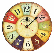 Large Decorative Wall Clock ,RELIAN 34cm Vintage Silent Wall Clock Non Ticking for Living Room and Kitchen Round Wood Decor
